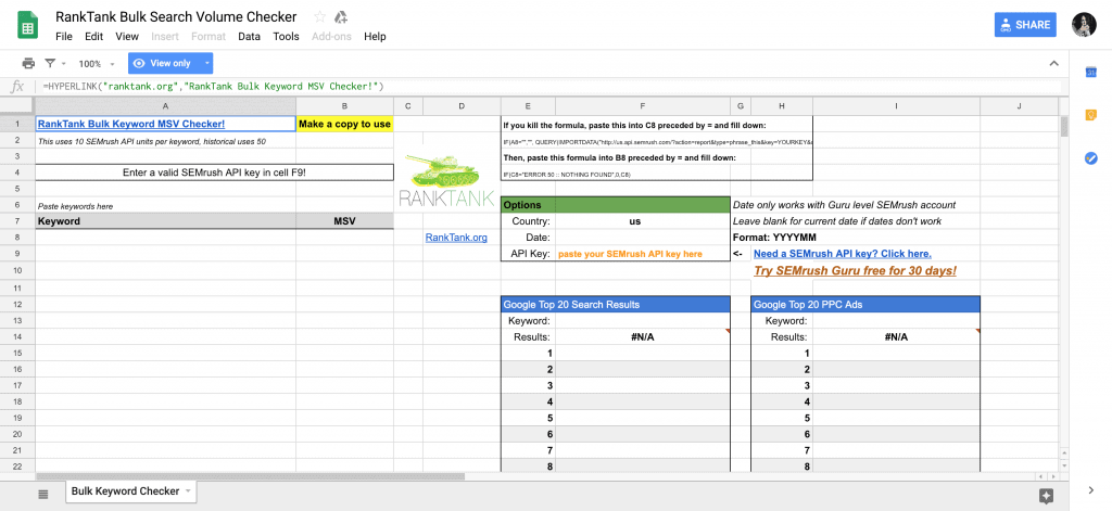 Keyword Research Templates & Tools in Google Sheets