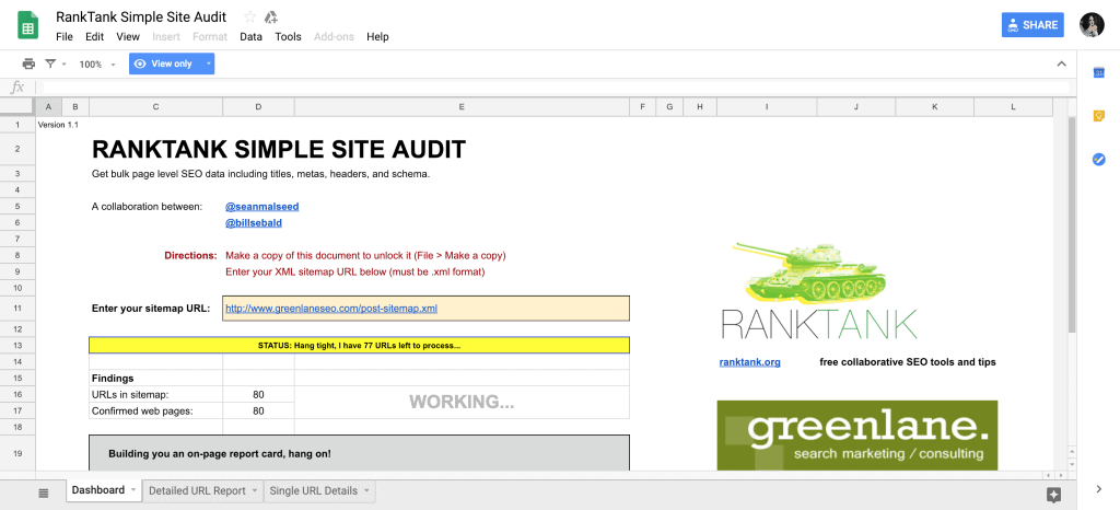 SEO Audit Templates & Checklists in Google Sheets