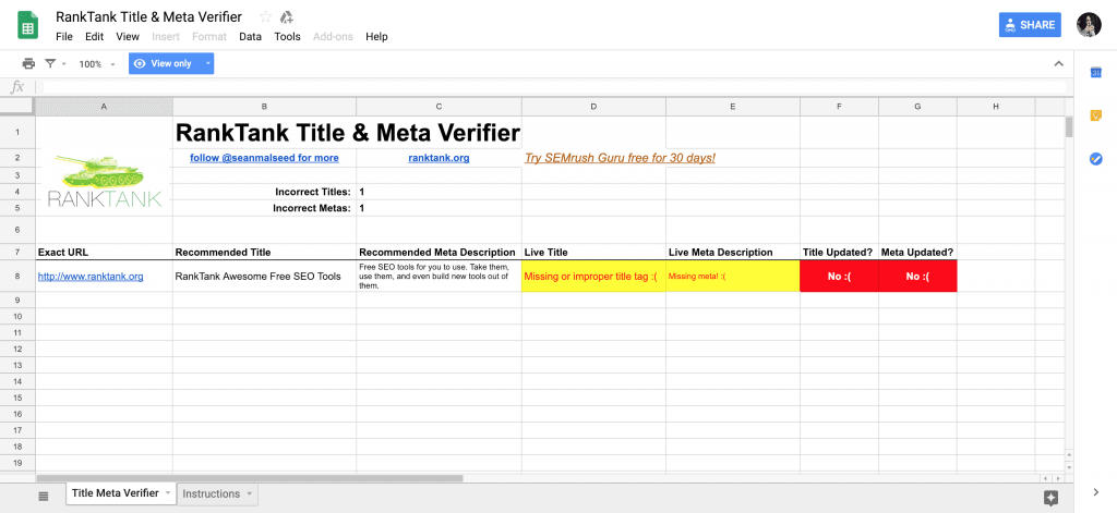On-Page SEO Checklist & Tools in Google Sheets