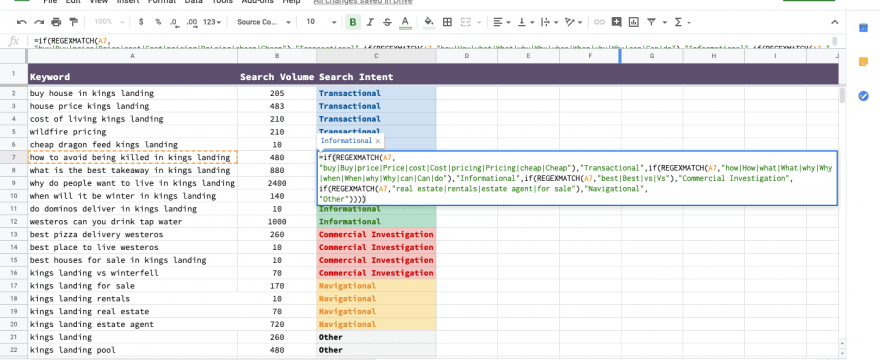 How to do a quick search intent analysis using Google Sheets