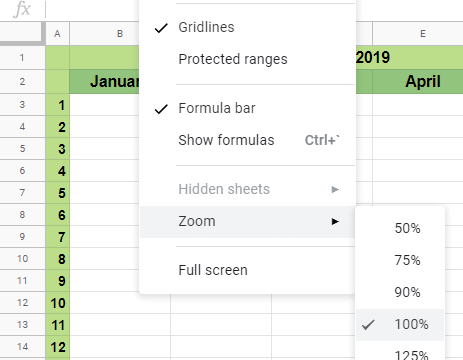 How to Zoom in and Out in Google Sheets