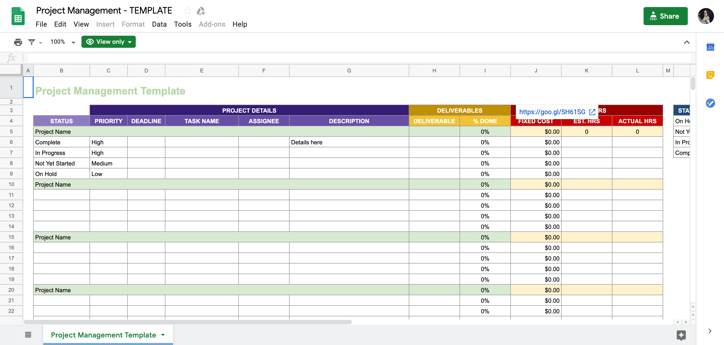 Project Management Spreadsheet Template from sheetsformarketers.com